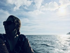 Ally Mitchell on a boat on the Java Sea